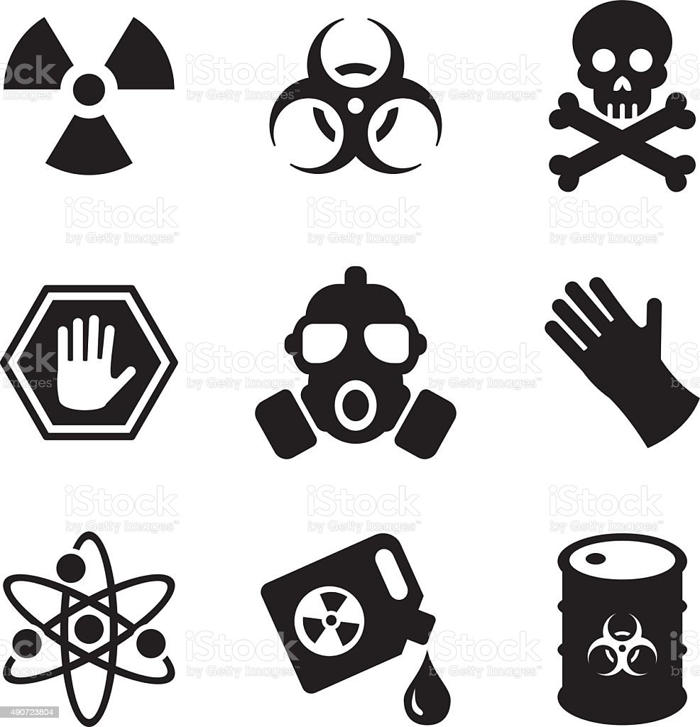 Biohazard Icons vector art illustration