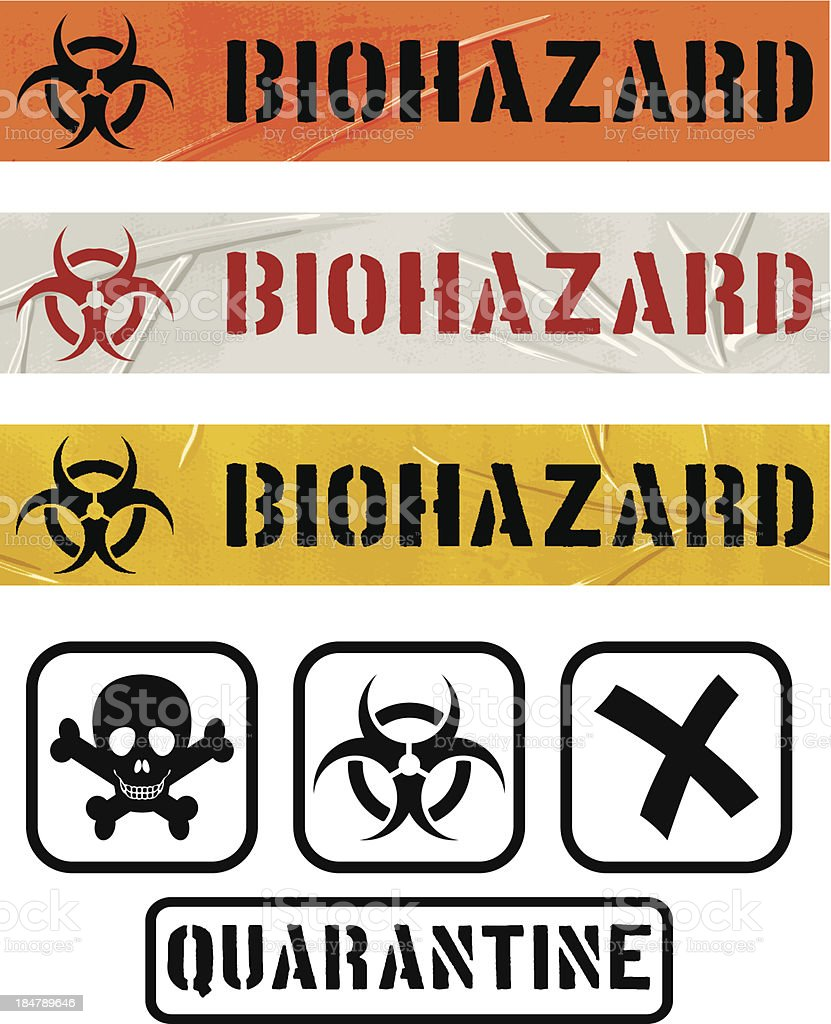 Biohazard seamless duct tape sets and quarantine icons royalty-free stock vector art