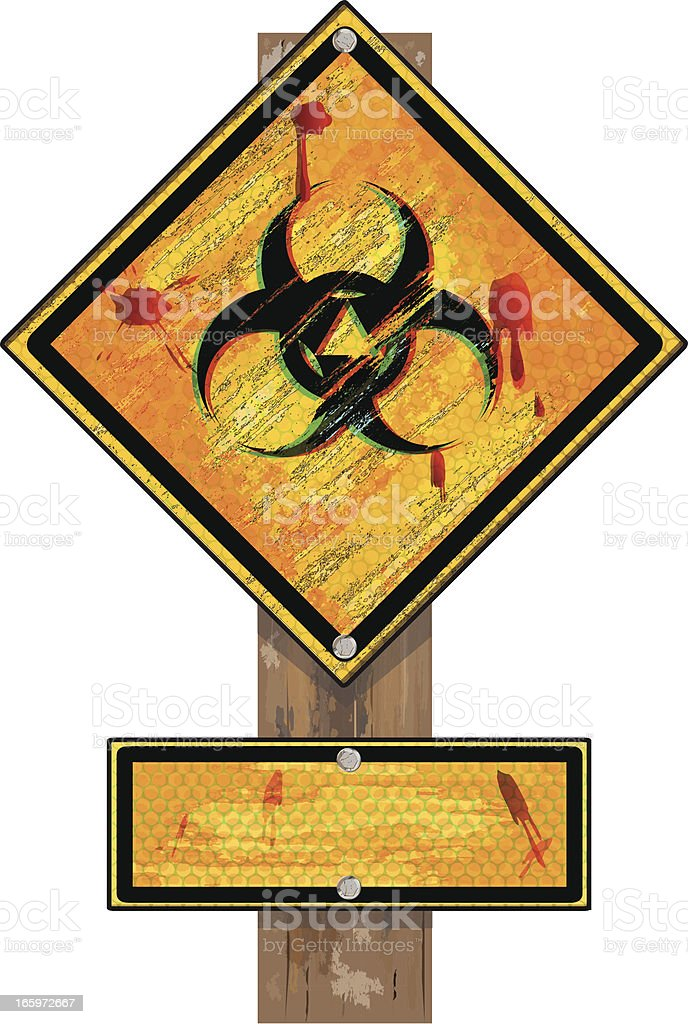 Biohazard Sign on Wood Post | Grunge royalty-free stock vector art