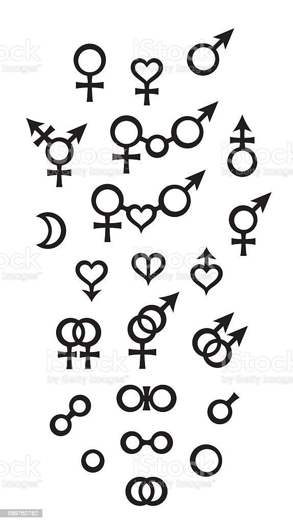 Biological Symbols and Signs of sex, gender, relations vector art illustration