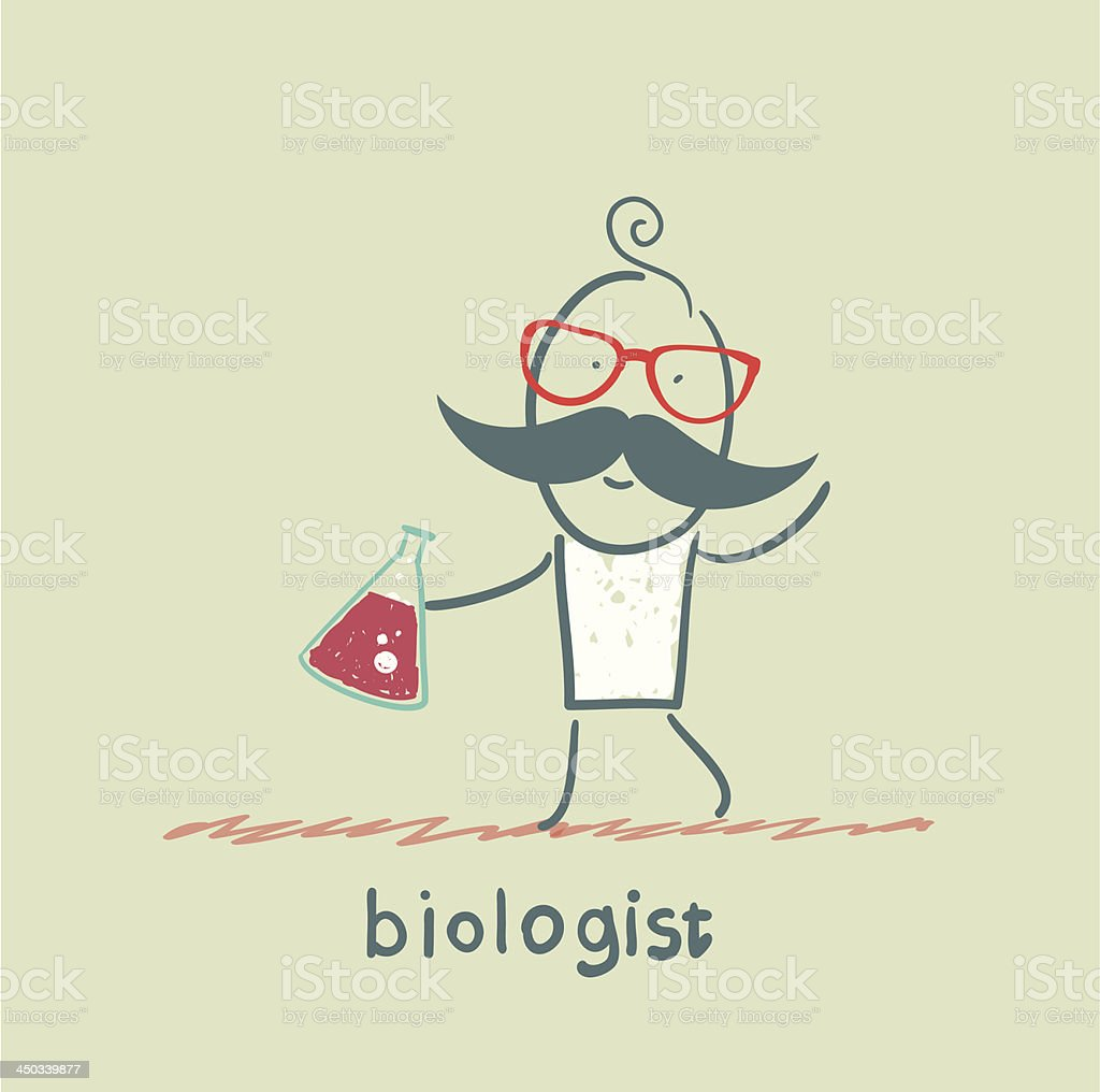 biologist holding a test tube royalty-free stock vector art