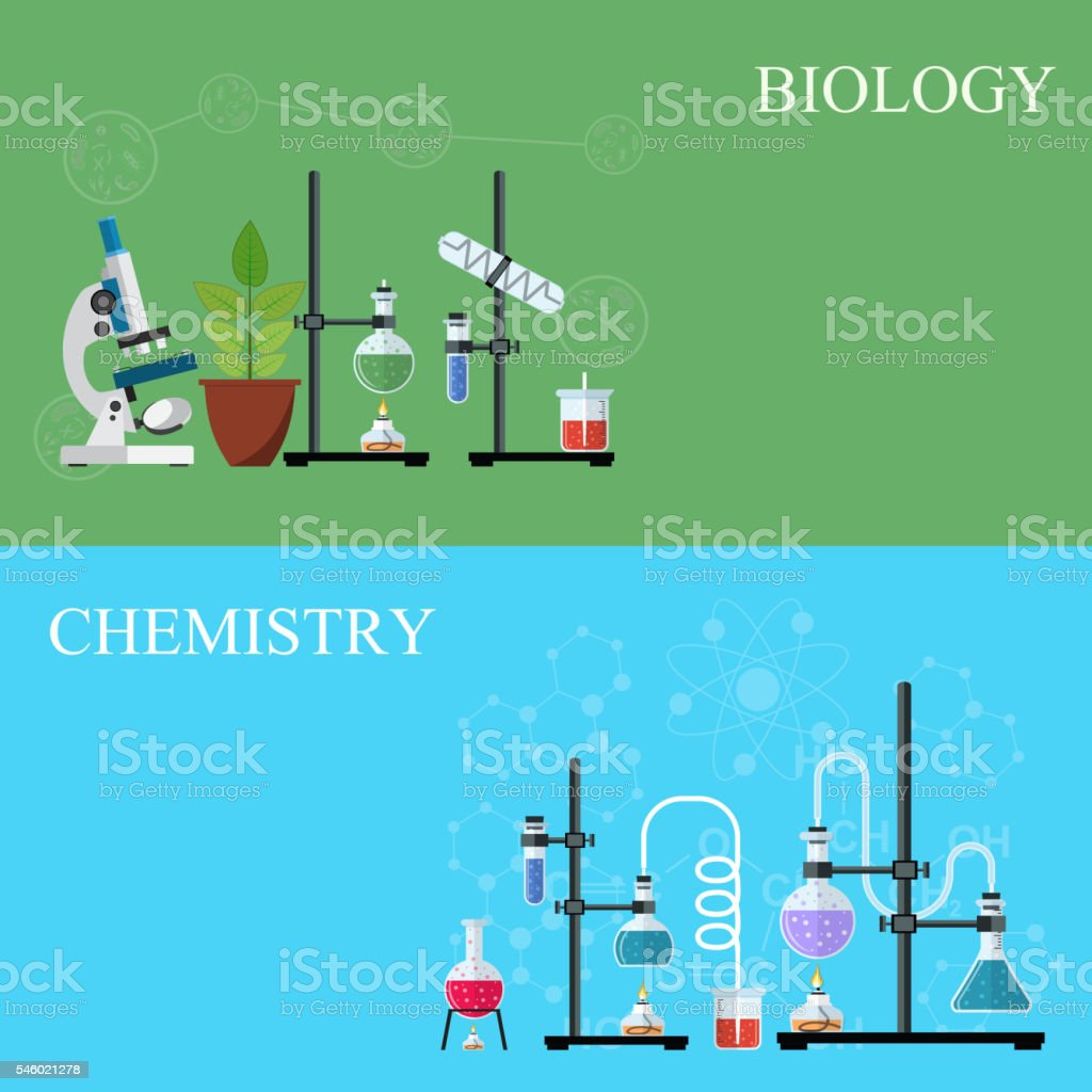 Biology and Chemistry laboratory workspace vector art illustration