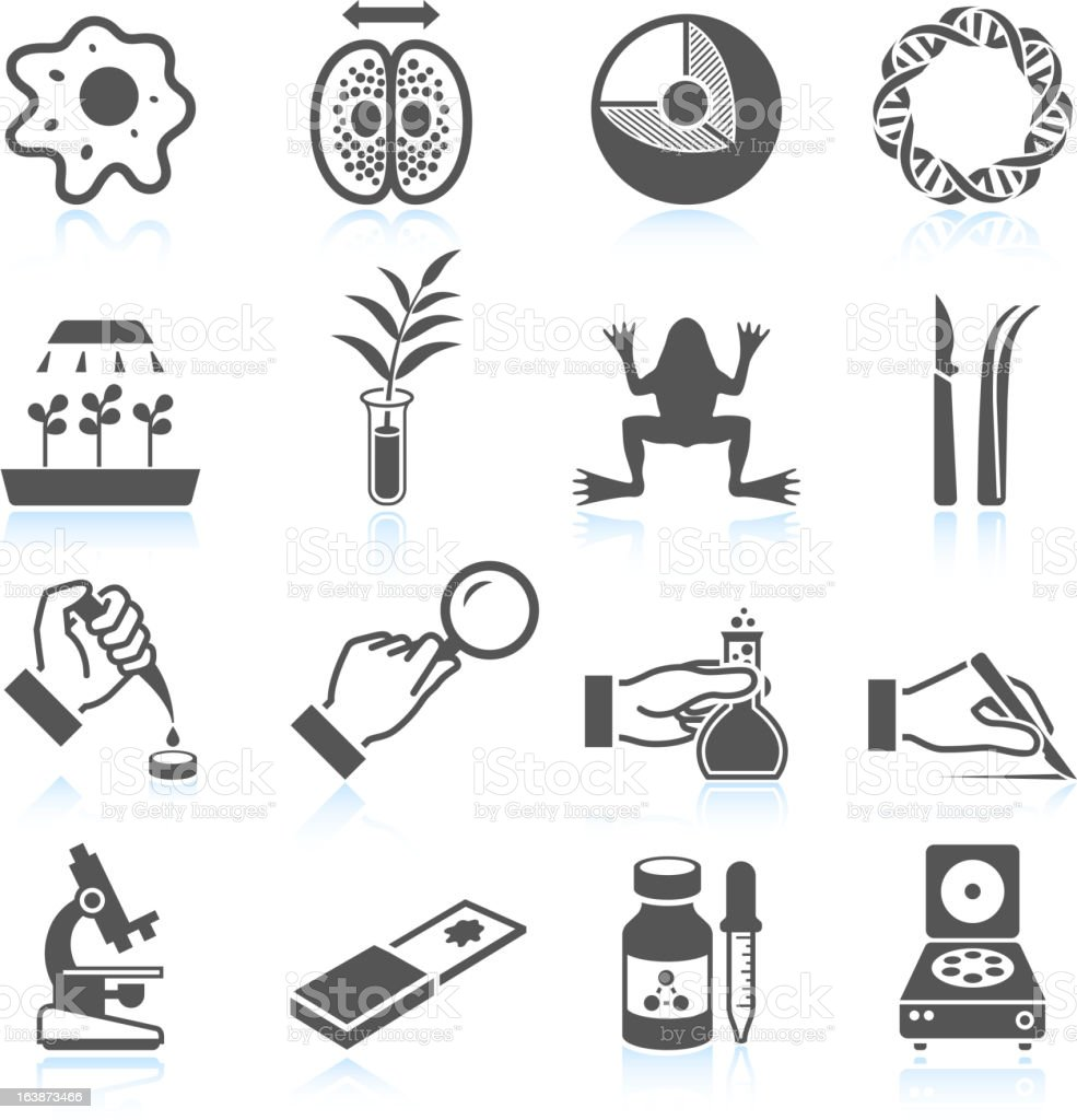 Biology and Scientific Innovation black & white vector icon set vector art illustration