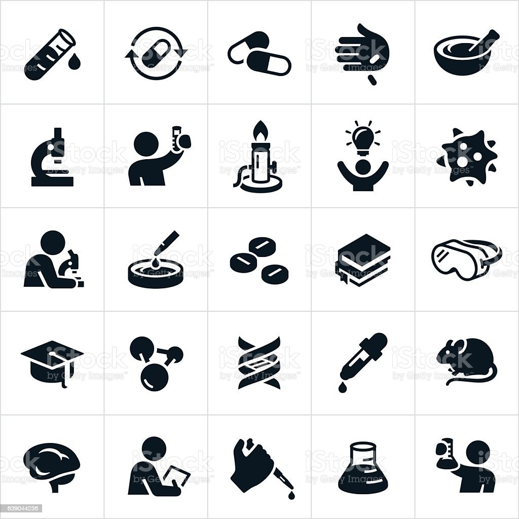 Biomedical Science and Laboratory Icons vector art illustration
