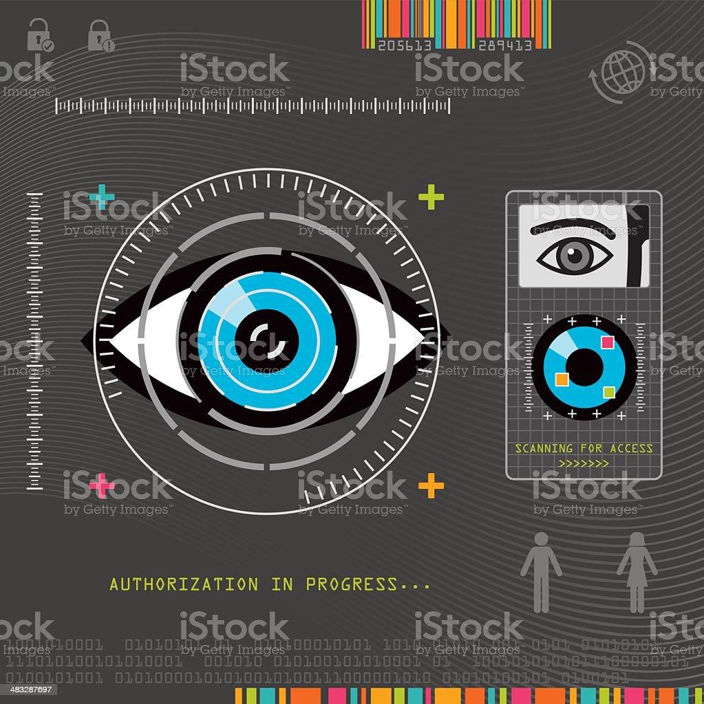 Biometric Eye Scanner vector art illustration