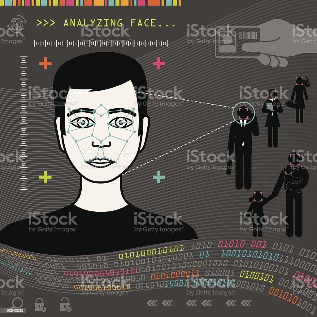 Biometric Face Recognition vector art illustration