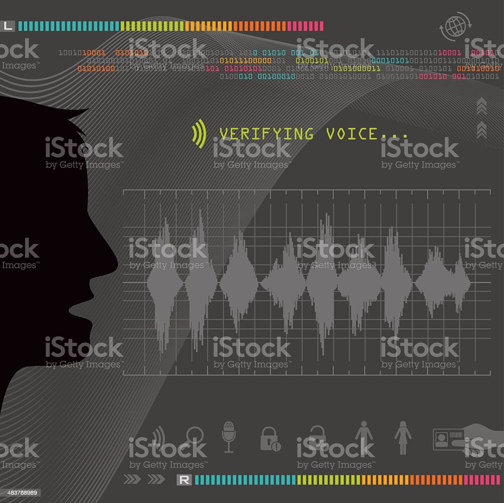 Biometric Voice Recognition vector art illustration