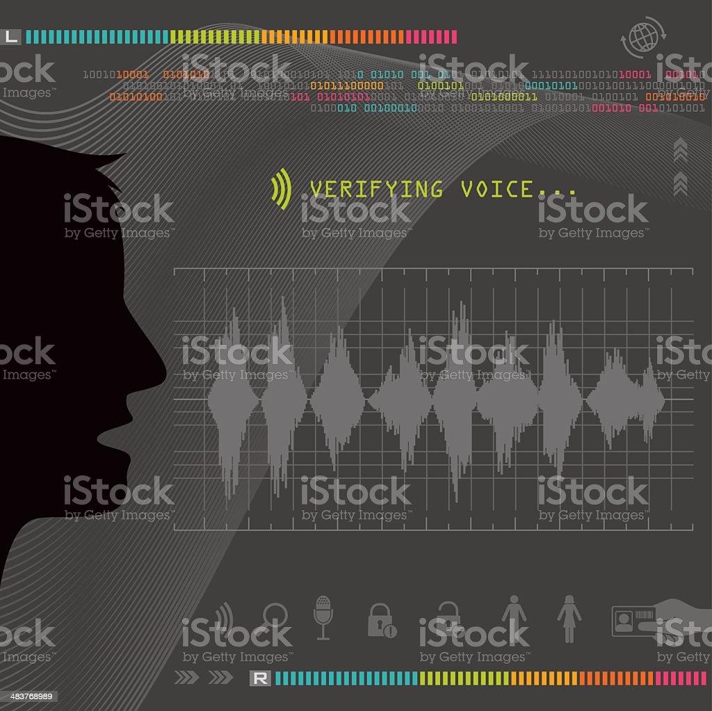 Biometric Voice Recognition vector art illustration