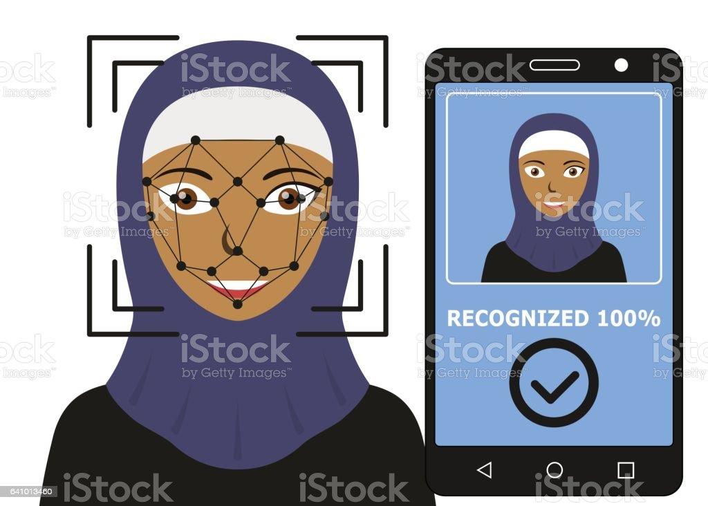 Biometrical identification. Face recognition. vector art illustration