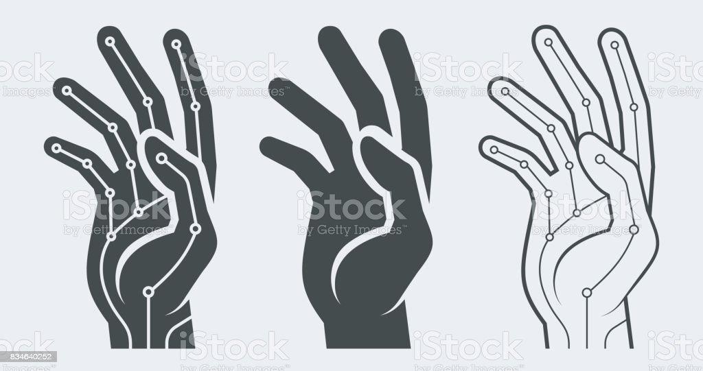 Bionic hand vector concept vector art illustration