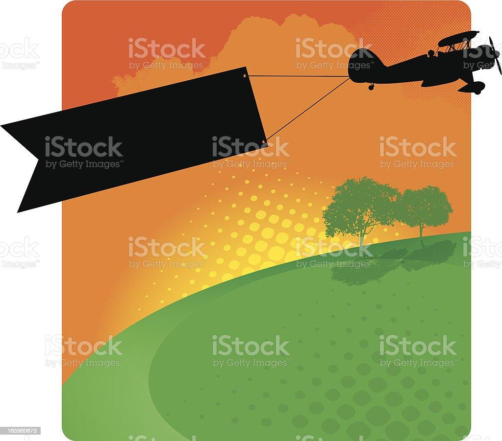 Biplane Banner Background - Air Advertising royalty-free stock vector art