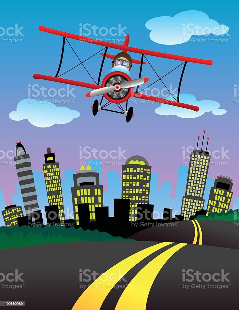 Biplane City vector art illustration