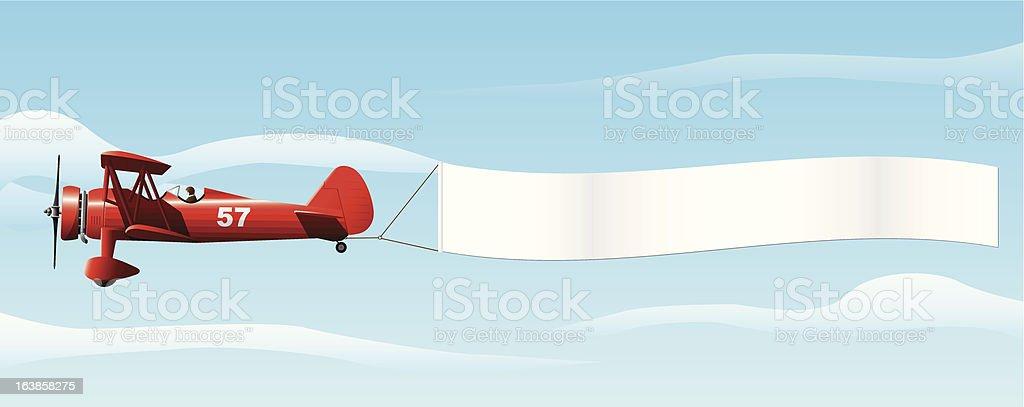 Biplane with Banner vector art illustration