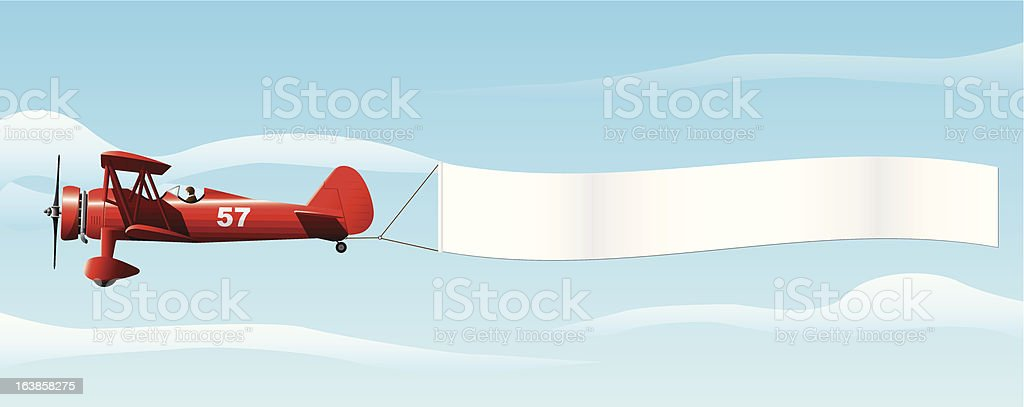 Biplane with Banner vector art illustration