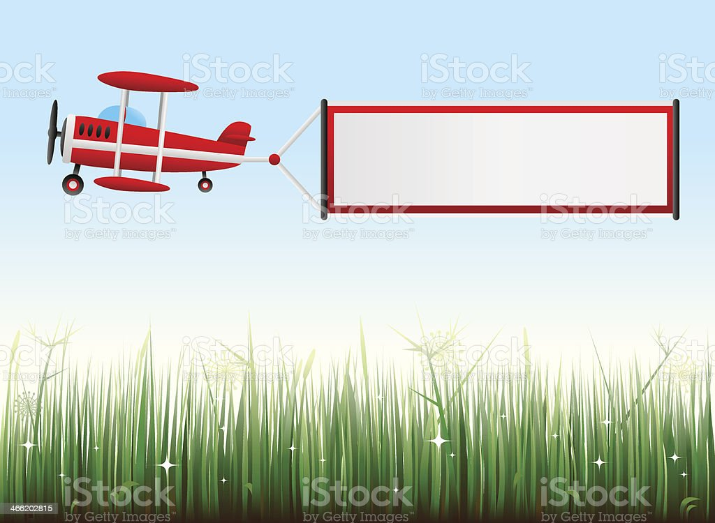 biplane with grassy landscape royalty-free stock vector art