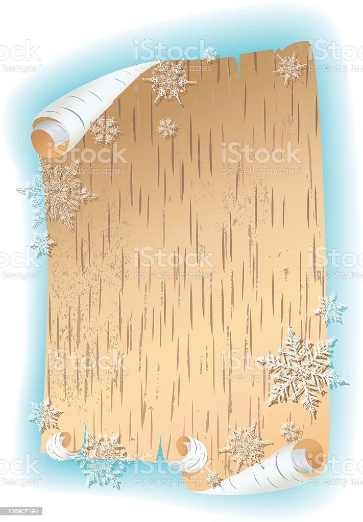 Birch Bark with Snowflakes vector art illustration