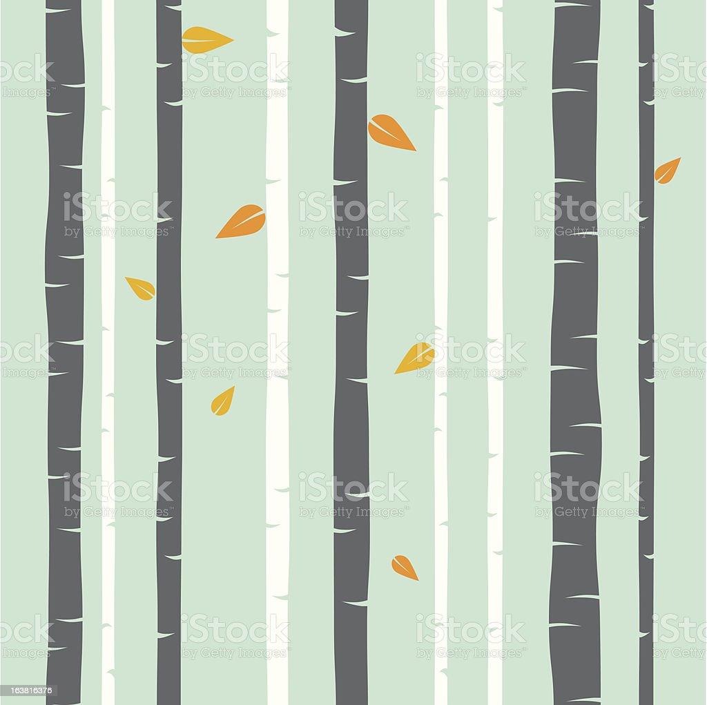 Birch border in pastel green, orange, and gray vector art illustration