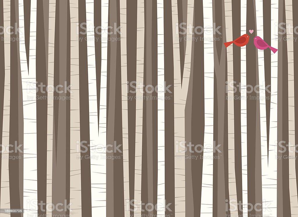 Birch Tree Bird Love royalty-free stock vector art