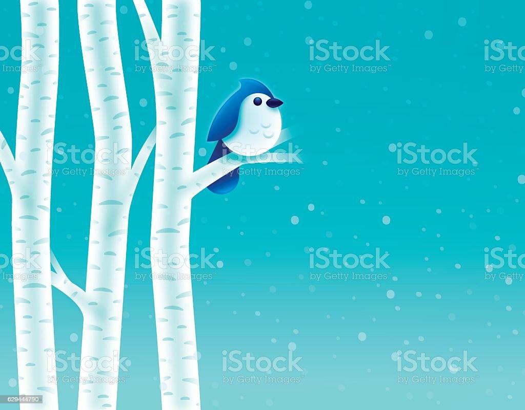 Birch Tree Winter Bird vector art illustration