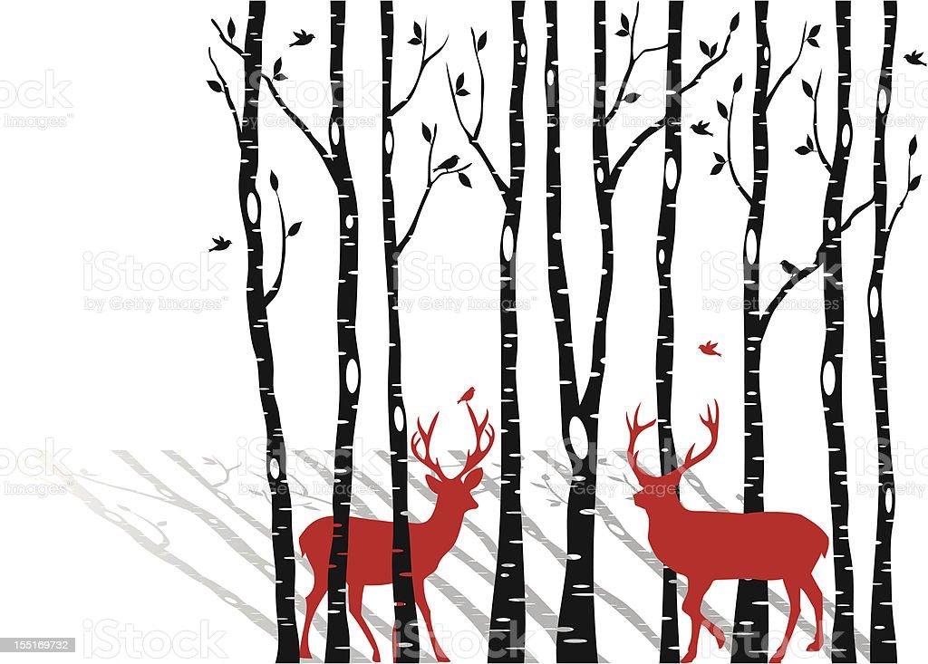 birch trees with christmas deers, vector vector art illustration