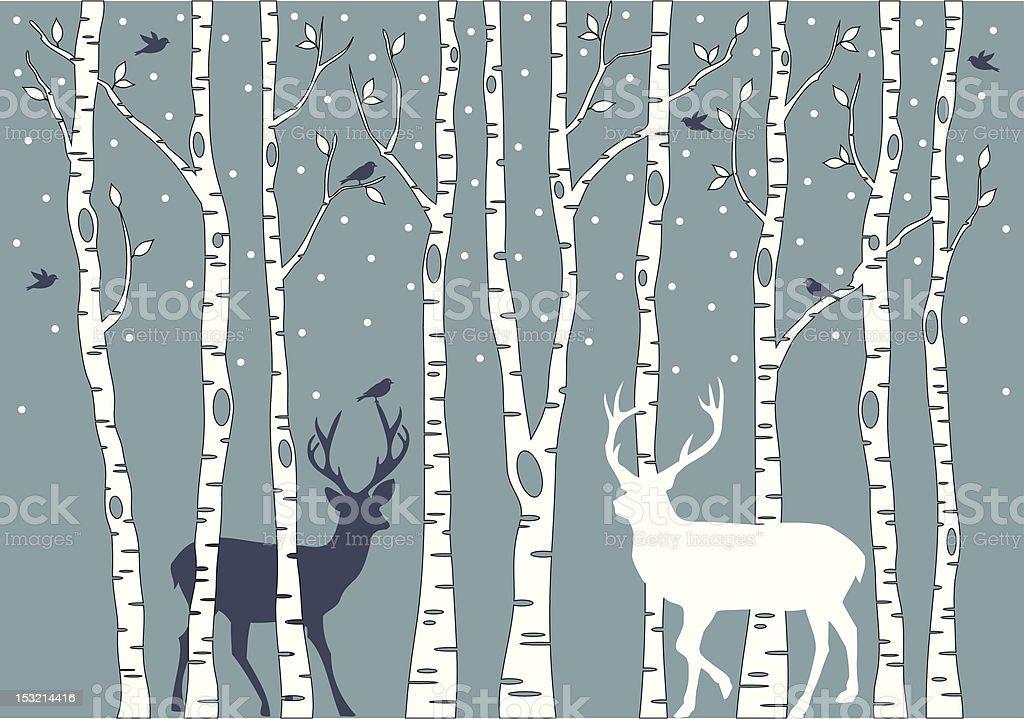 birch trees with deers vector art illustration