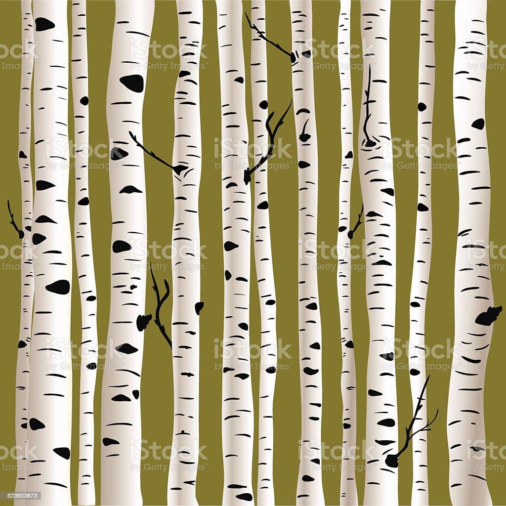 Birches in vector vector art illustration
