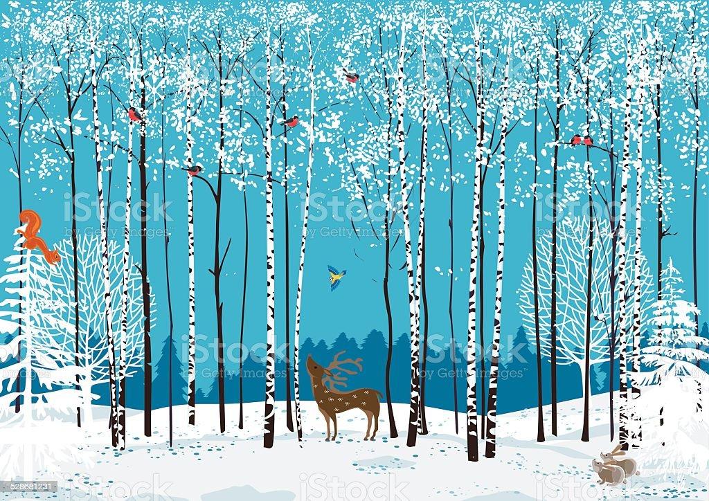 Birchwood vector art illustration