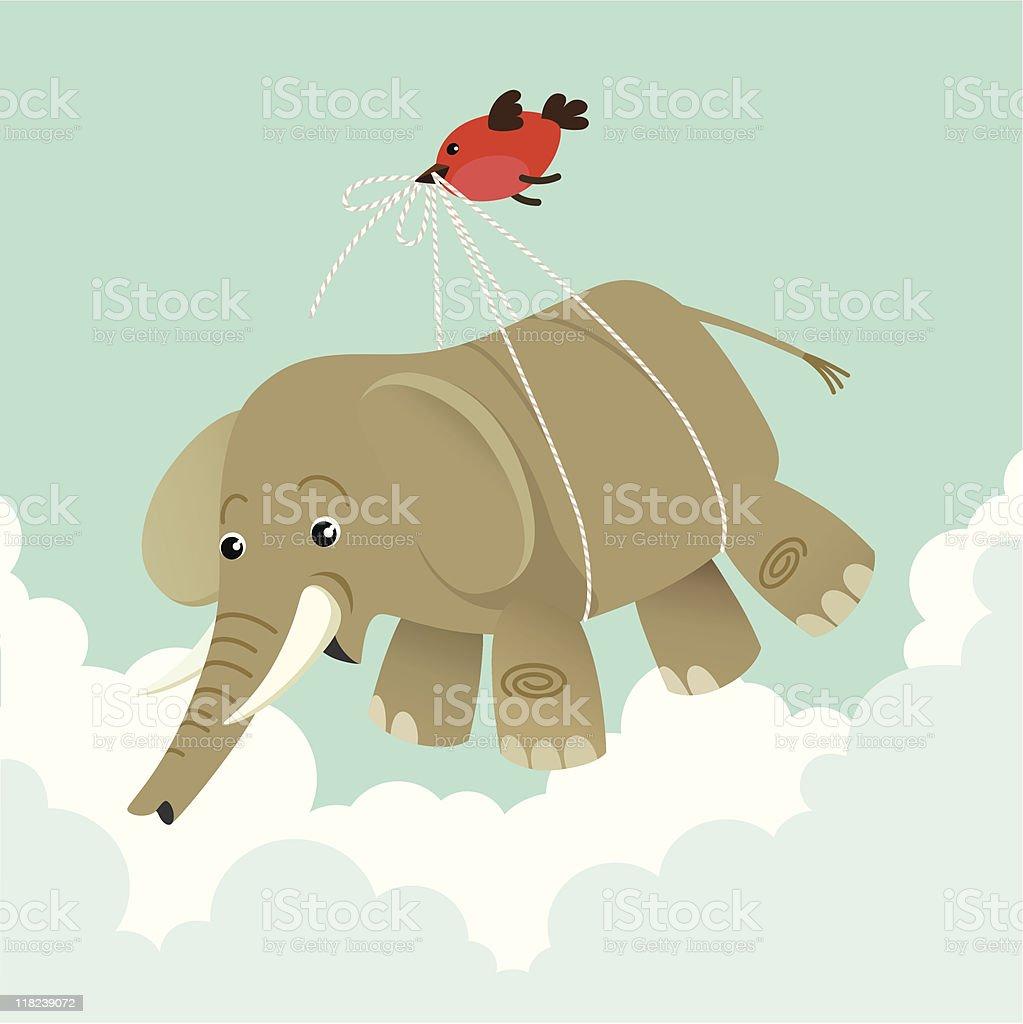 Bird and an elephant royalty-free stock vector art