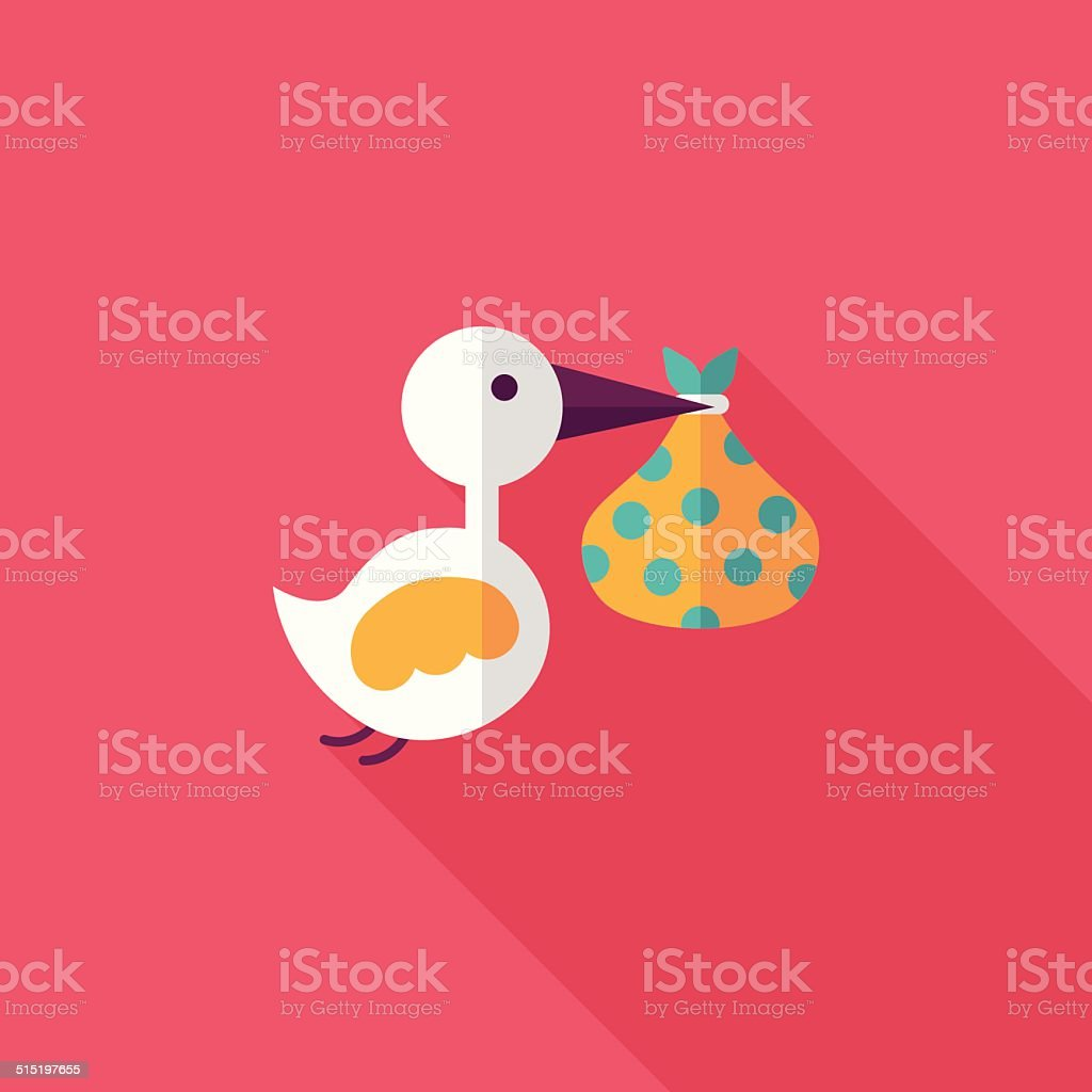 bird and baby flat icon with long shadow,eps10 vector art illustration