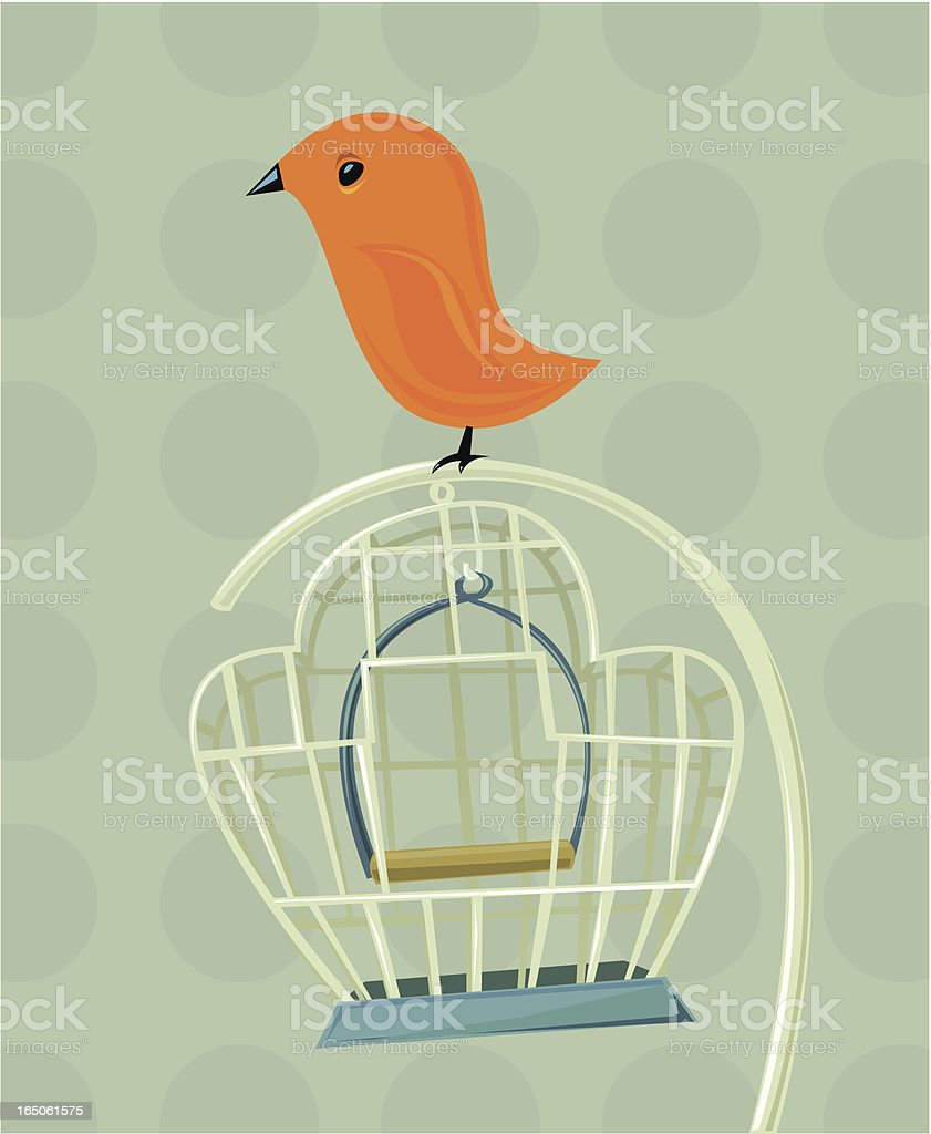 Bird and cage vector art illustration