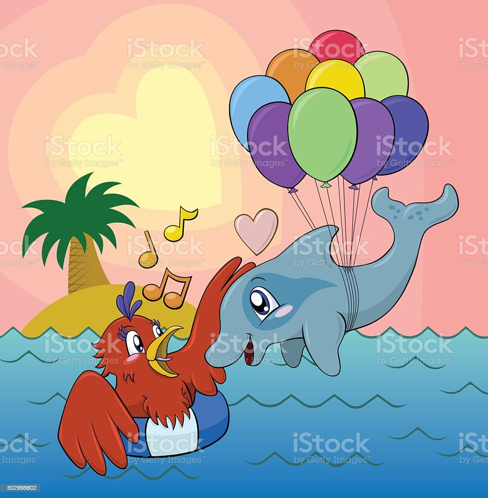 Bird and Dolphin couple in love in tropical waters vector art illustration