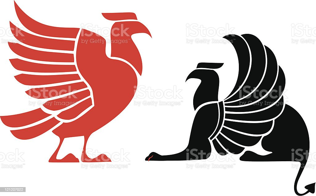 Bird and griffin royalty-free stock vector art
