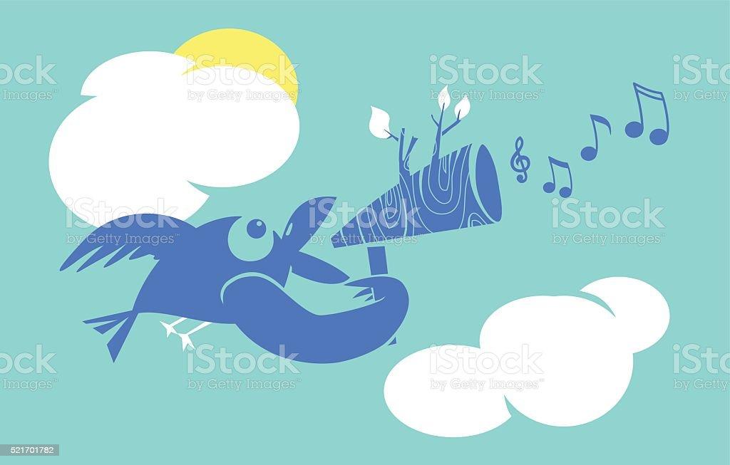 Bird and Megafon vector art illustration