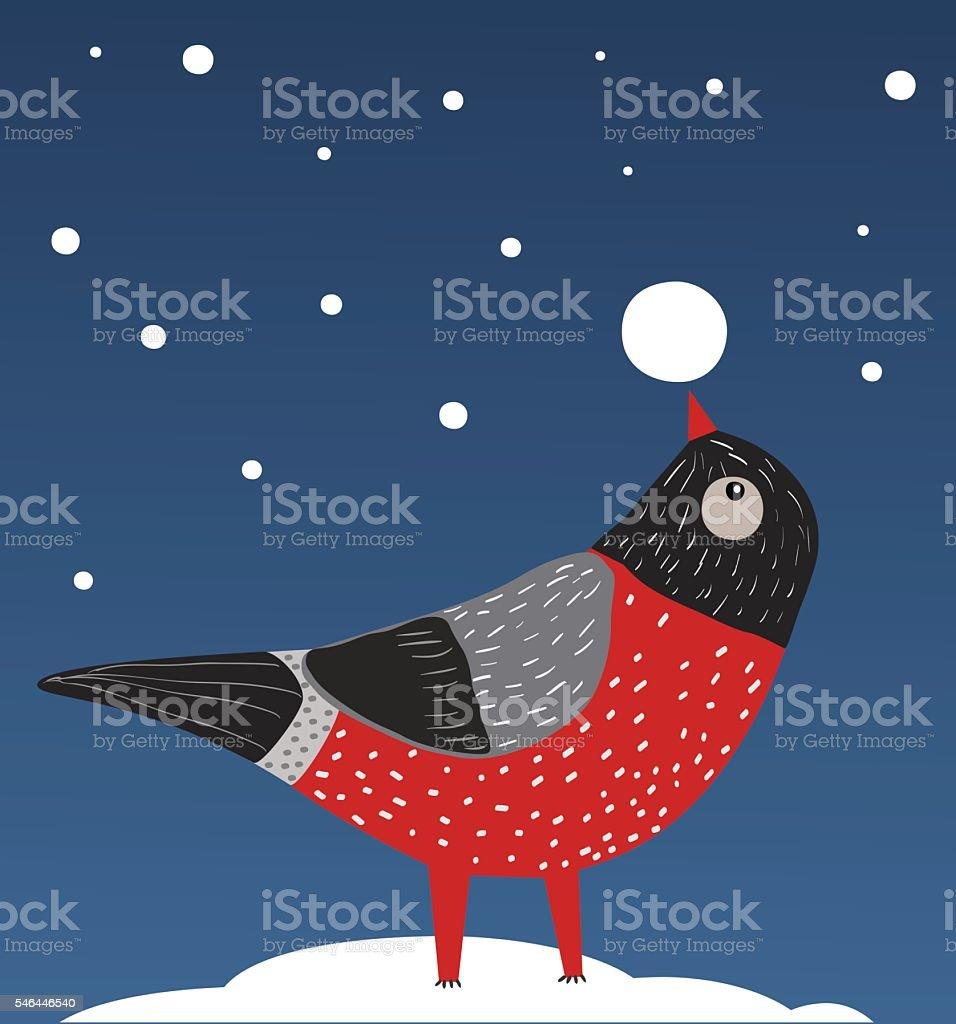 Bird and Snow vector art illustration