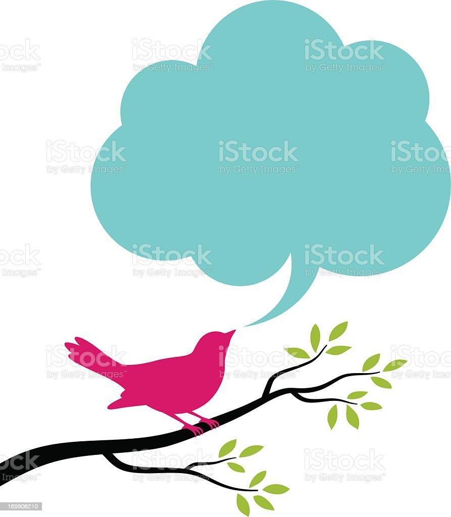Bird and Speech Bubble vector art illustration