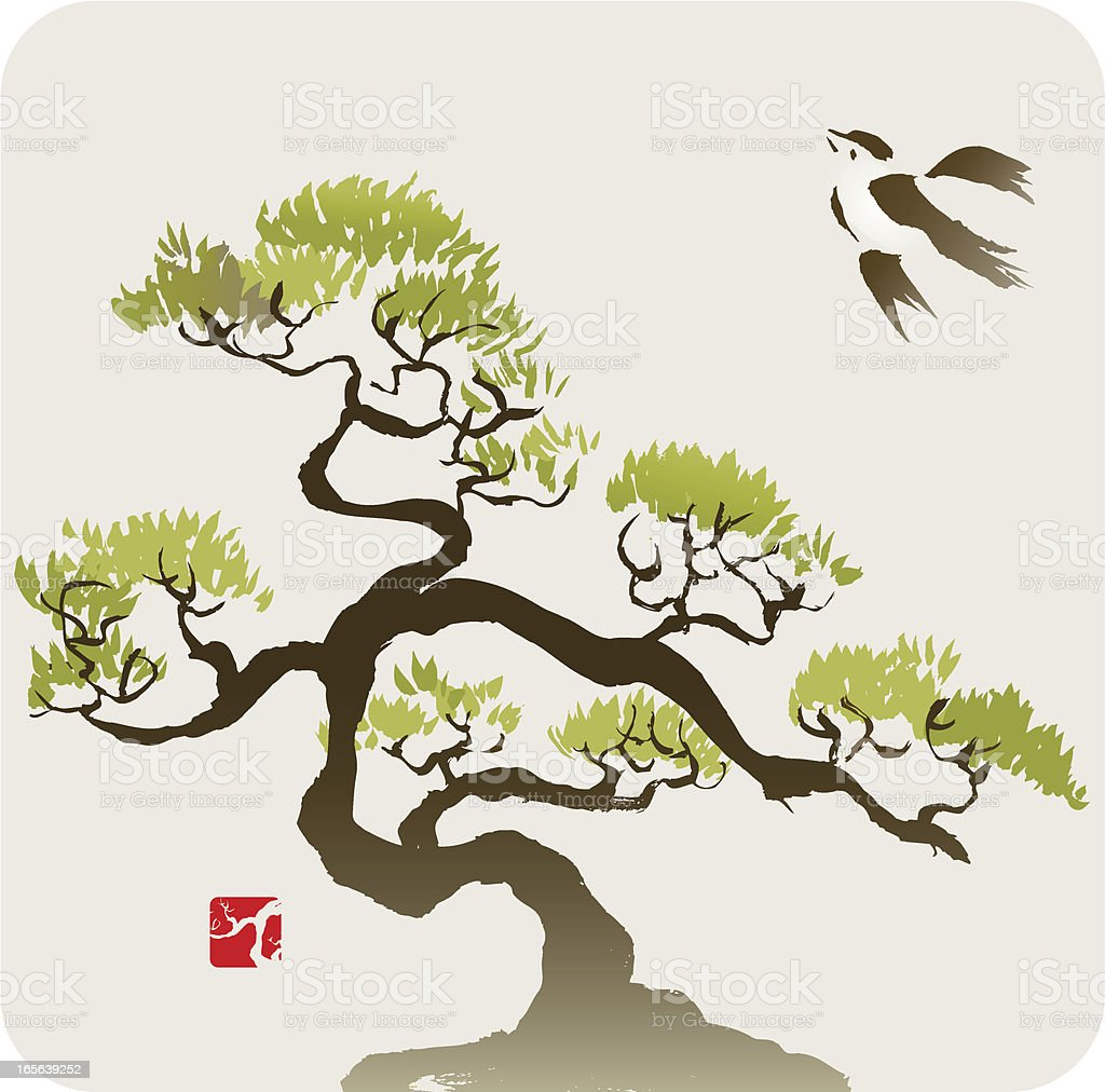 Bird and the Small Pine Tree or Bonsai vector art illustration