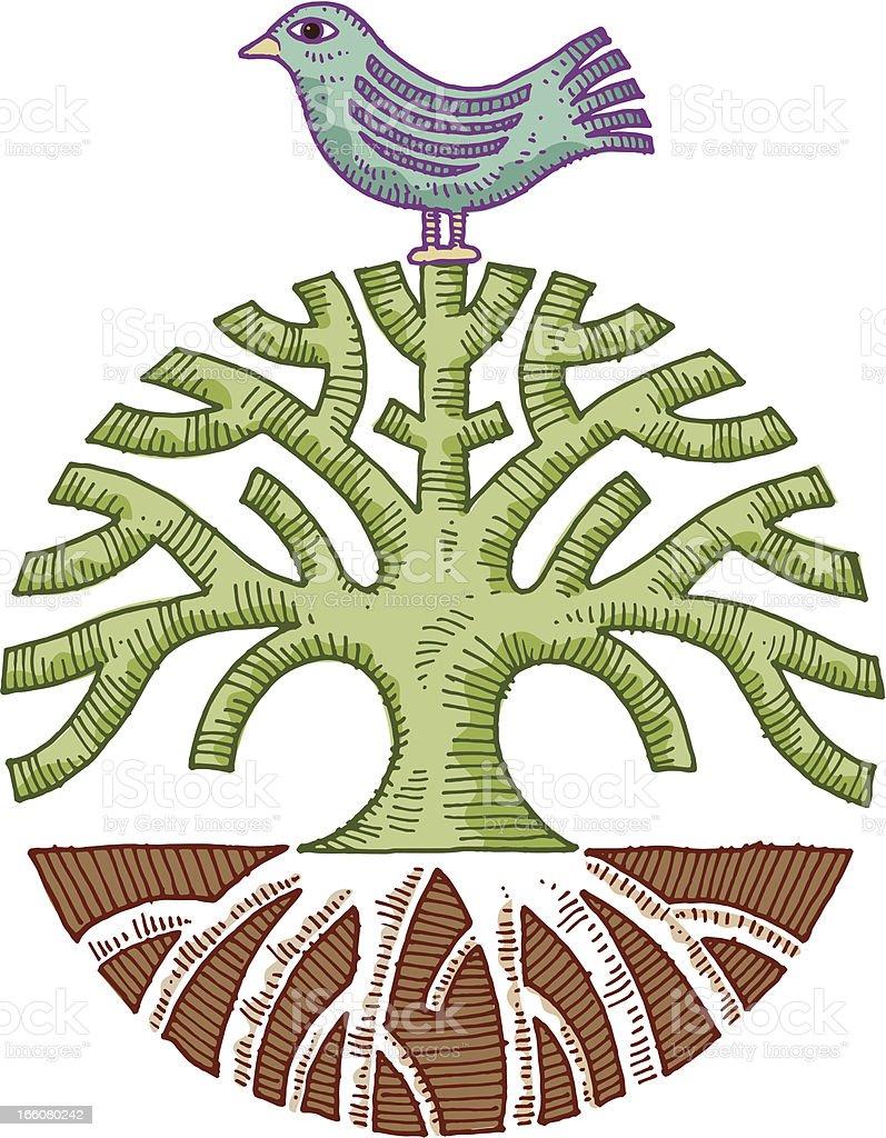Bird and tree drawing vector art illustration
