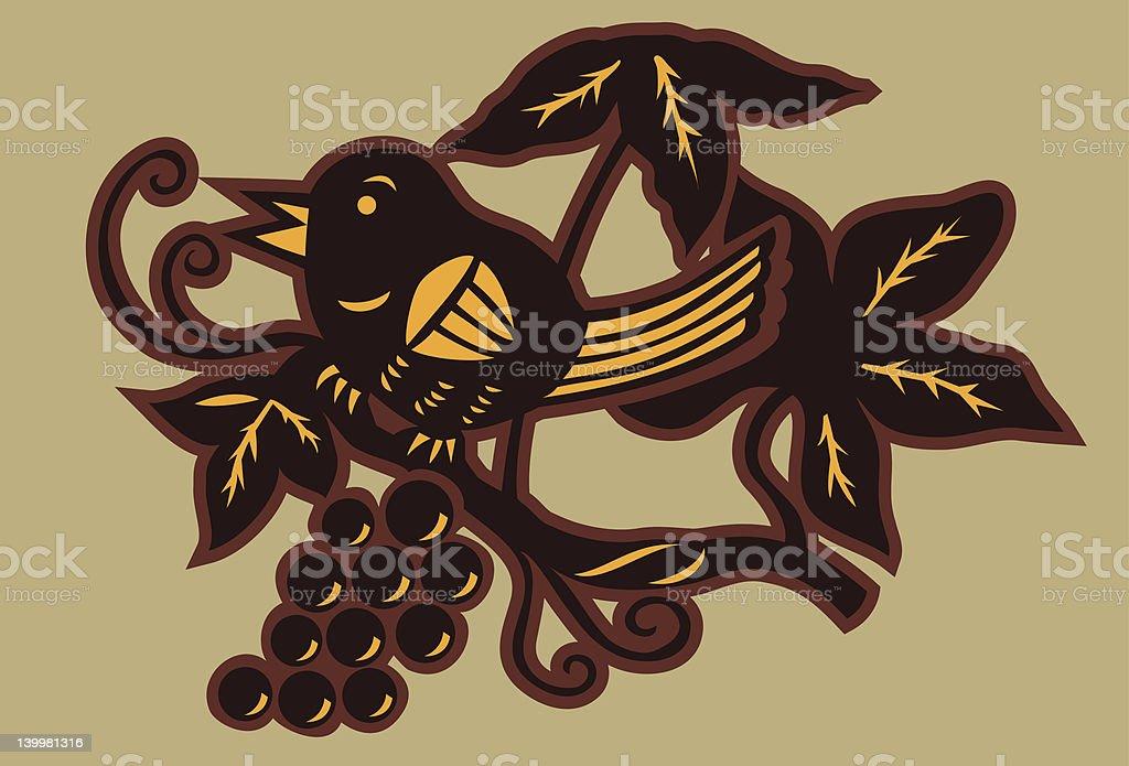 Bird and Vine Silhouette vector art illustration