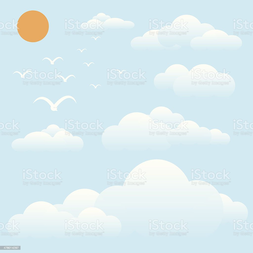 bird at sky, sun and cloud royalty-free stock vector art