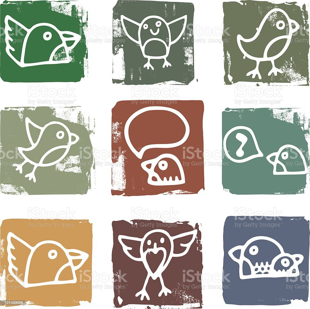 Bird Block Icons royalty-free stock vector art