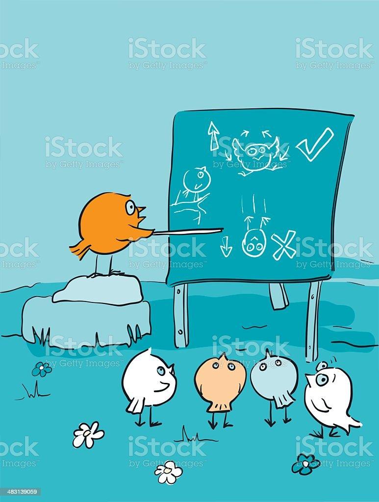 Bird Brains Flying Lesson - Class Room Cartoon royalty-free stock vector art