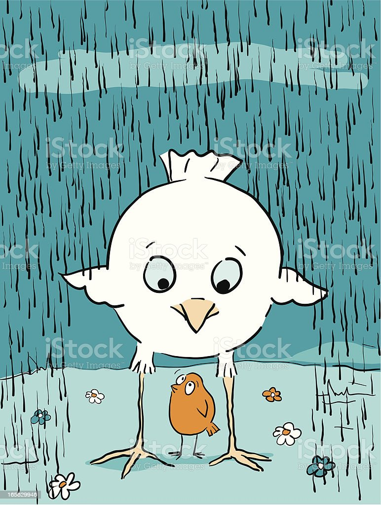 Bird Brains - Shelter from the Rain help friends royalty-free stock vector art