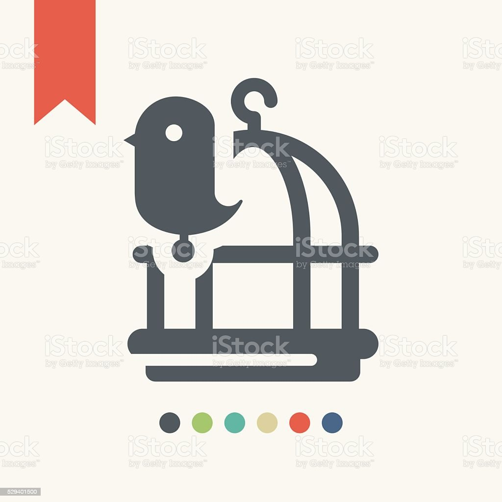 Bird cage icon vector art illustration