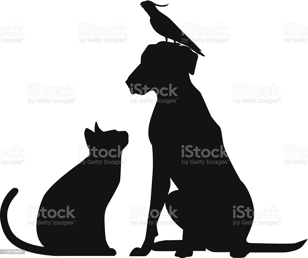 Bird Cat Dog vector art illustration