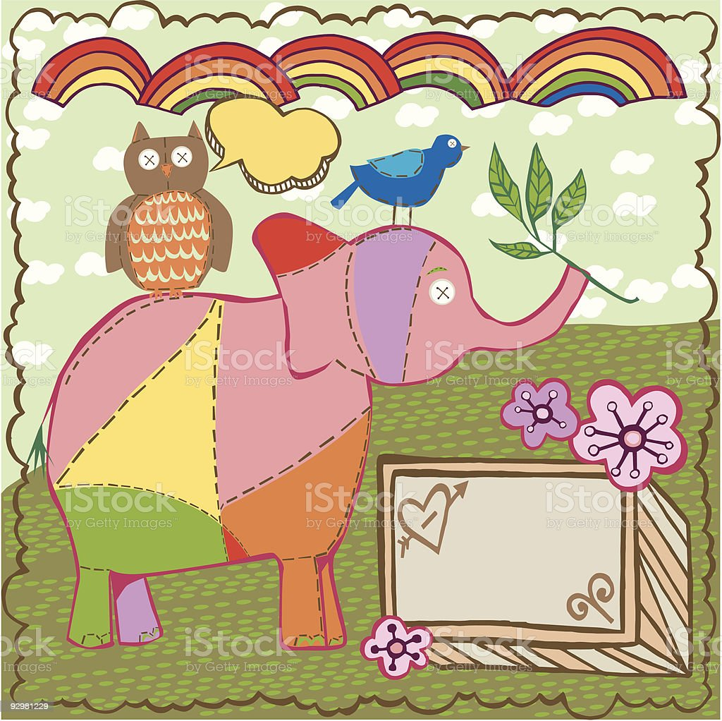 Bird, Elephant, and Owl royalty-free stock vector art
