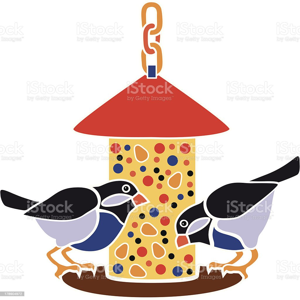 bird feeder vector art illustration