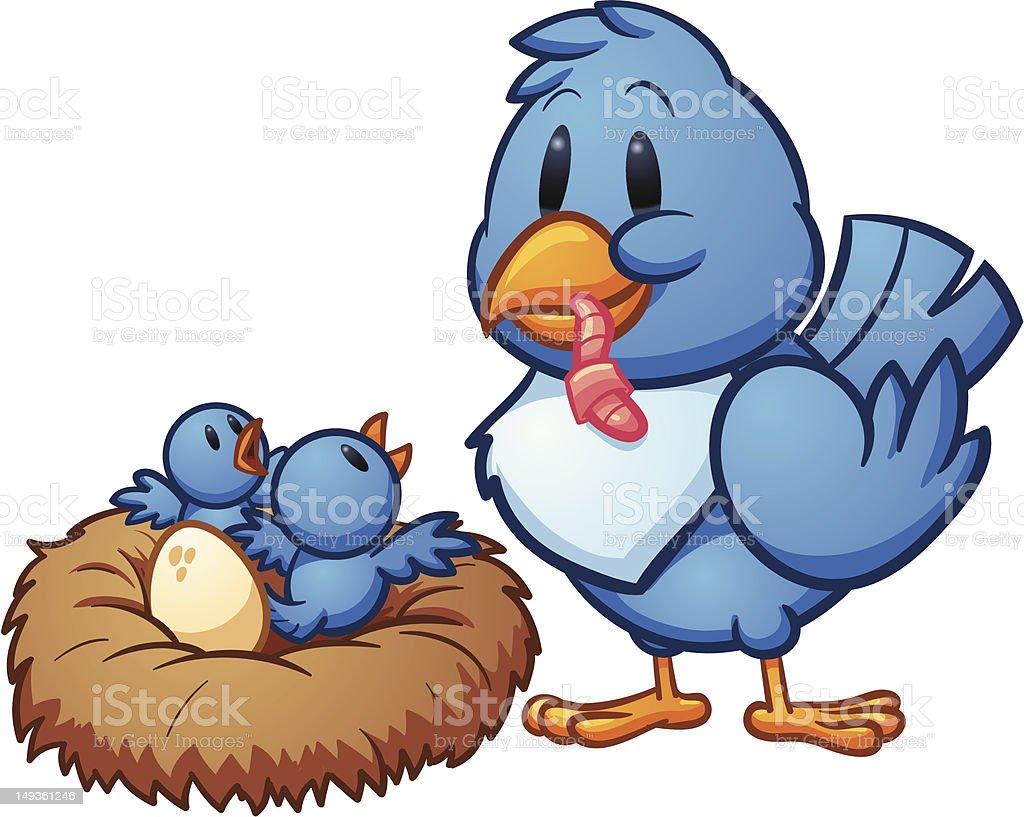 Bird feeding babies royalty-free stock vector art