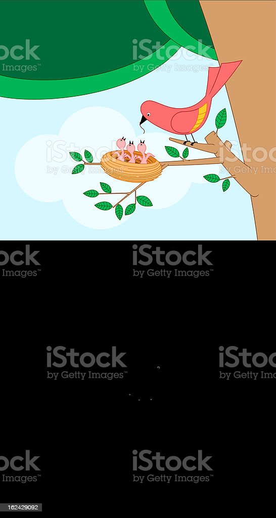 bird feeding her child royalty-free stock vector art