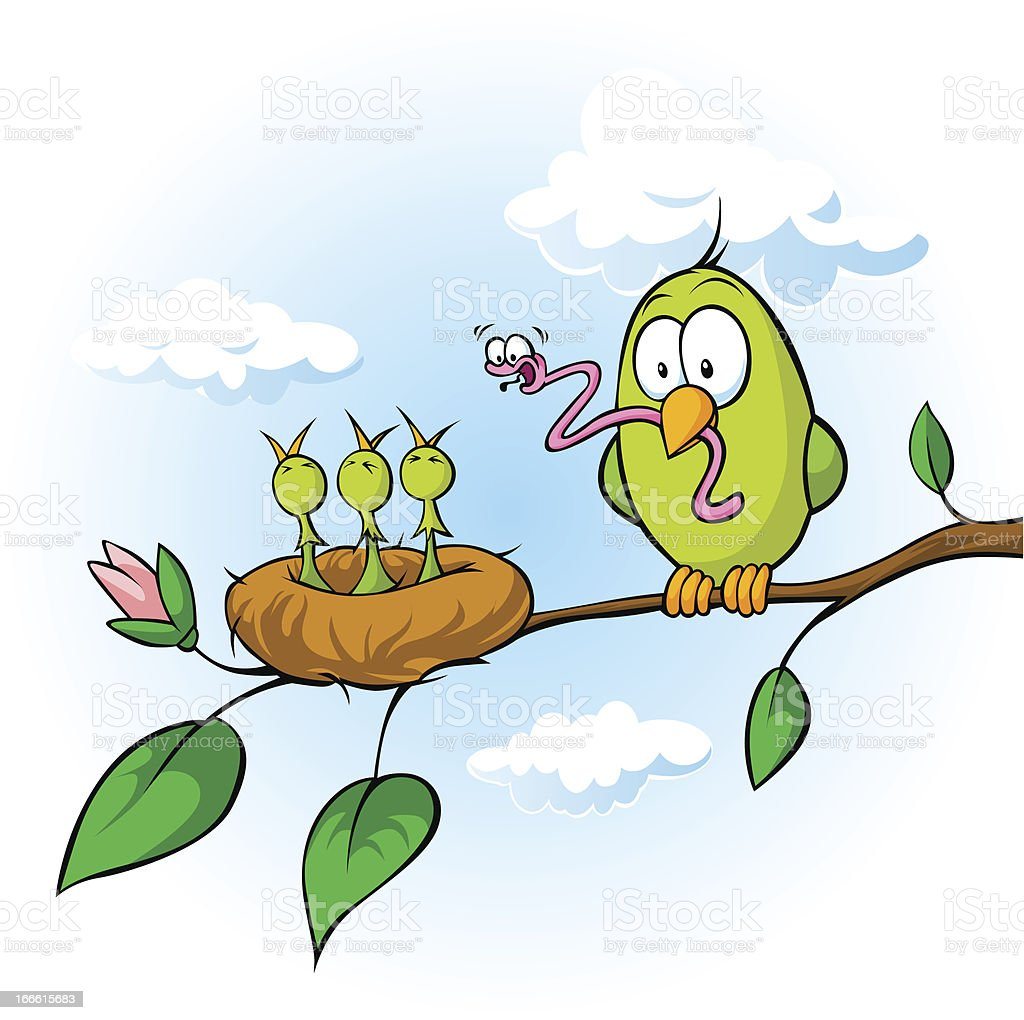 bird feeding hungry chicks vector art illustration