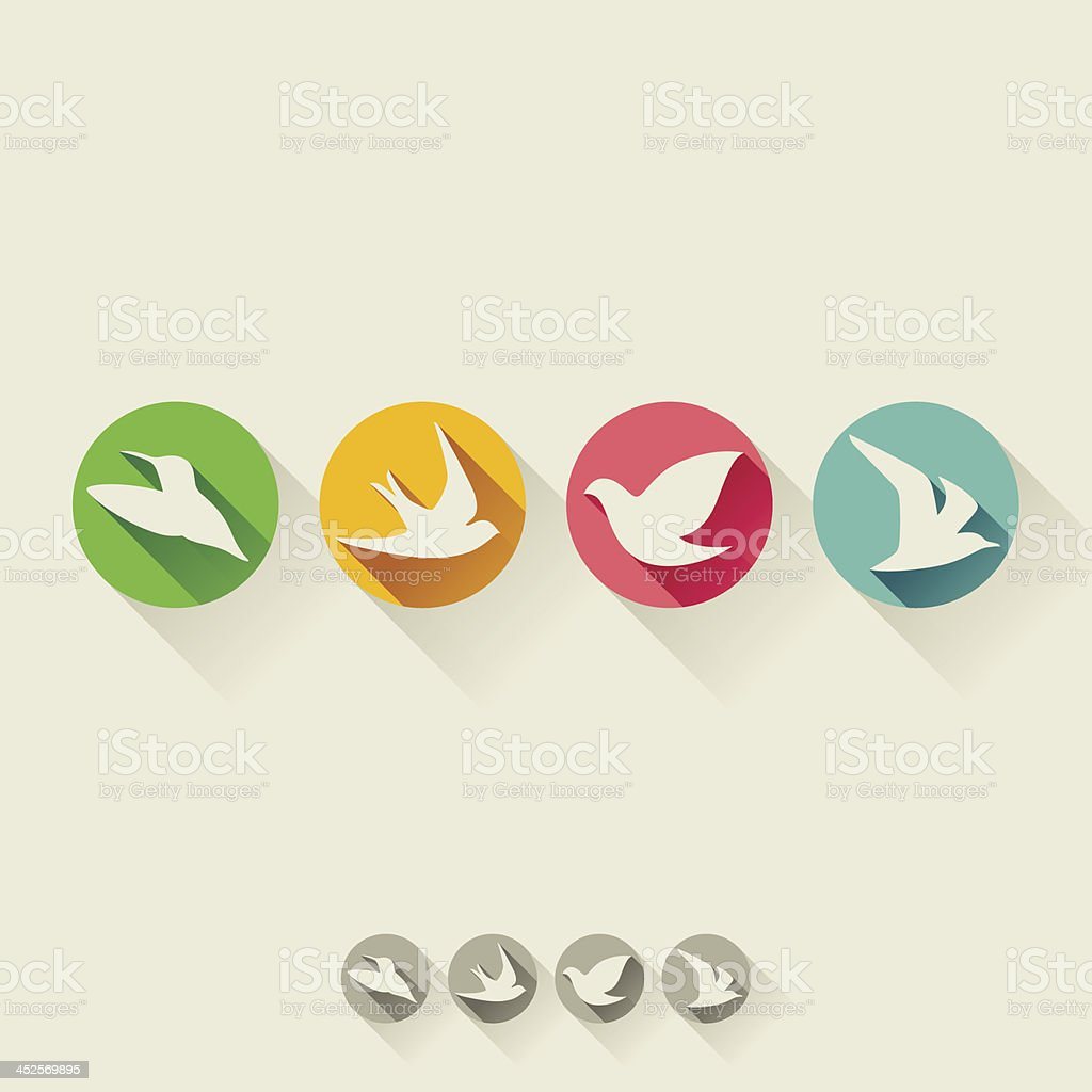 Bird. Flat icon with long shadow royalty-free stock vector art
